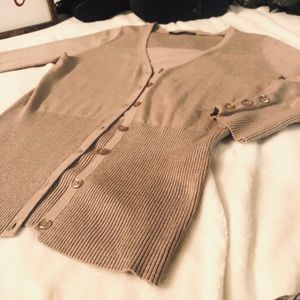 Maurices Tan Button Up Fitted sweater